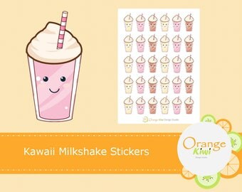 Kawaii Milkshake Stickers, Planner Stickers, Kawaii Stickers, Erin Condren Life Planner