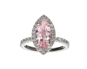 Marquise Cut Morganite Diamond Halo Ring