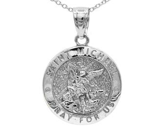 St michael necklace etsy 925 sterling silver saint michael medallion with silver chain st michael pendant religious jewelry engraved mozeypictures Gallery