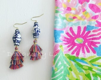 MULTICOLORED Mini Stacked Tassel Earrings | Chinoiserie, blue and white, ginger jar, gold, dangle, lightweight, layered, dainty, tiered,