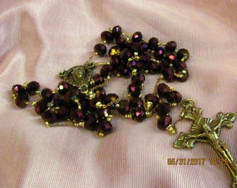 Brass and Iridescent Purple Rosary