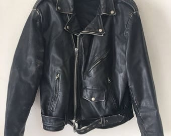 Retro Style Short Vintage Black Genuine Leather Jacket Men's Size Large.
