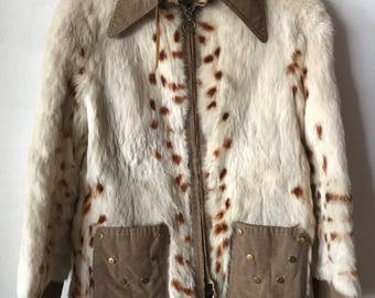 Classical Genuine Rabbit Soft & Fluffy Fur Coat Mid Length Women's Size Small.