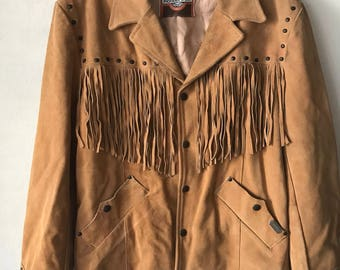 All Time Classic Western Cowboy Orange Leather Fringed Jacket Size Medium.