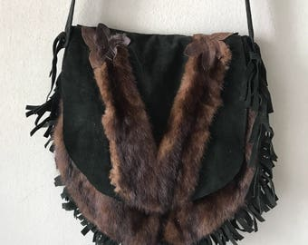 Beautiful bag from real mink fur&suede with fashionable suede fringe new collection designer bag handmade women's green bag has size-medium.