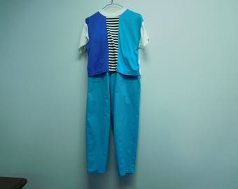 Vintage 1980's Spring/Summer Pants with Crop Top in Blue Size Medium