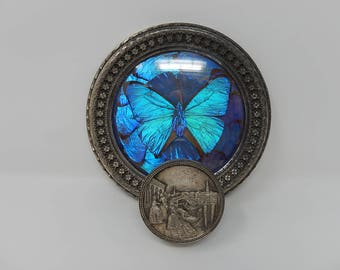 Old Pewter Coat Hanger with Butterfly, Free Shipping!