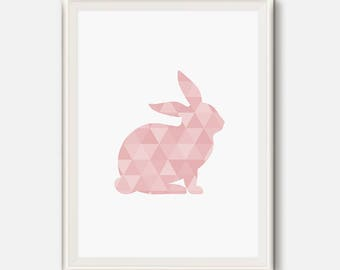 Rabbit print, Pink Wall art, Pink baby room, Modern nursery, Geometric Rabbit, Pink rabbit nursery decor, Pink Animal Poster, pink Baby gift