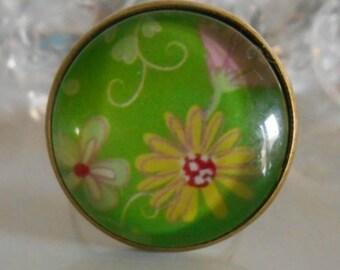 "Ring bronze ""vintage floral"" glass cabochon"