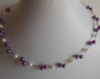 Purple and white twist wedding necklace