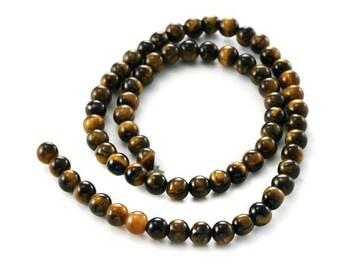 "20, 50, 100 or 200 round beads natural ""Tiger eye"" Orange, yellow 4, 6 mm or 8 mm - Ref: 2569 / 2135 / 2211"
