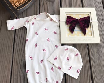 Adorable baby girl gown with matching velvet bow headband and beanie hat/ going home outfit/ coming home from hospital outfit/velour bow