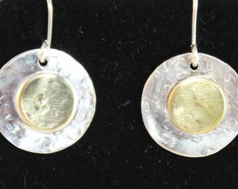 Sterling Silver Textured Earrings with Brass Overlay (100917-024)