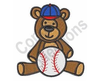 Baseball Teddy Bear - Machine Embroidery Design, Baseball, Teddy Bear