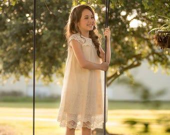 Country flower girl,Ivory Flower Girl Dress,Flower Girl Dress, Crochet flower girl dress,country flower girl dress,rustic flower girl dress,