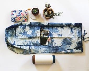 Yoga Bag in SPLASH - Workout bag / Birthday gift / Indigo dyed / Indigo yoga bag / Yoga mat carrier / Cotton yoga bag - Portland OR