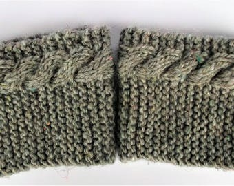 Recycled wool boot cuffs, cable knit boot cuffs, beige knit boot socks, wool boot toppers, recycled accessories, welly cuffs, sustainable
