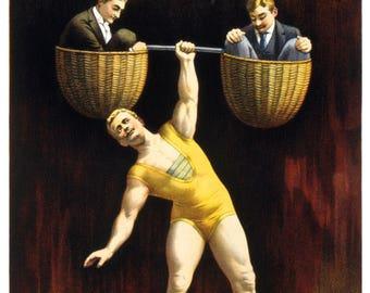 Vintage The Sandow Strong Man Lifting Poster Print