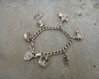 Antique gold Medieval Heraldic Charm Bracelet - Crown, Knight, Lion, Coat of Arms Shield, Knight on Horse, Solid Curb Link