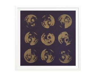Glow-In-The-Dark Metallic Gold Moon Phases Silkscreened Art Print