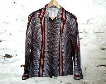 Vintage Blouse - Vintage Shirt - Brown - 70's - Tailored - Long Sleeved