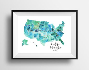 """Wedding Gift, Adventure Map, Love Story Map, United States Map, Your Story Map, Travel Map, Custom Map, Anniversary up to 16"""" x 20"""