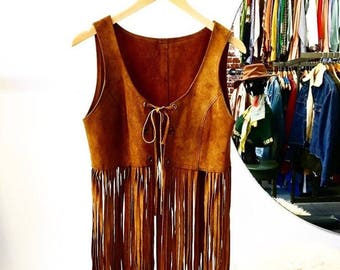 Sold in store. Do not buy. Vintage Suede Late Sixties Early Seventies Suede Fringe Vest.