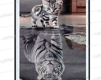 Kitten tiger - diamond painting kits - 20x30cm