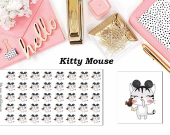 Kitty Mouse//Planner Character Stickers//EC//HP