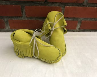 Moccasins, Leather, Suede, Handmade, Ankle Boots, Lime Green