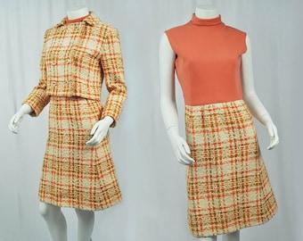 1960s Vintage Bergdorf Goodman 2pc Dress & Jacket/Tweed Print/