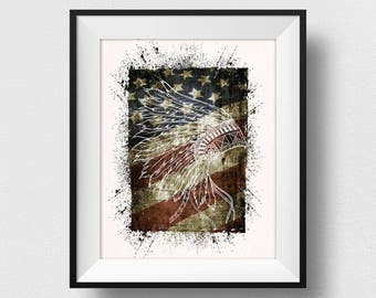 Indian Headdress On US Flag Print, Native American Spirit Wall Art, Tribal Wall Decor, Native Wall Art, Modern Home Decor (N514)