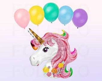 Iridescent Pink UNICORN Balloon | HUGE Unicorn Balloon | Unicorn Party Theme | Unicorn Balloon Decoration | Balloon Tassel Tail