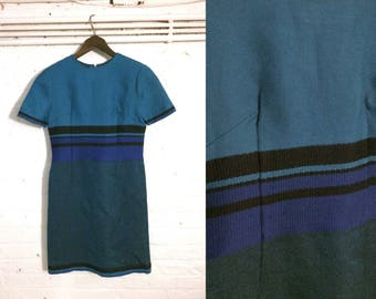 1960s vintage fitted turquoise blue stripe mini dress - UK 8 EU 36 US 6 - Sixties Mod Preppy