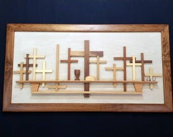 "Hand Crafted ""The Last Supper"" Wall Art Woodcraft Picture, Alder Frame"