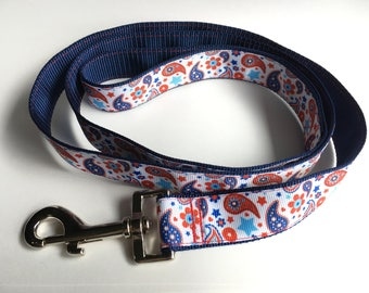 Red White & Blue Paisley Leash - Large