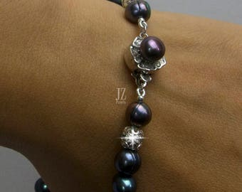 Freshwater Peacock Blue Pearl Bracelet with matching Necklace Sterling Silver Barrel Beads and Pearl Flower Clasp.