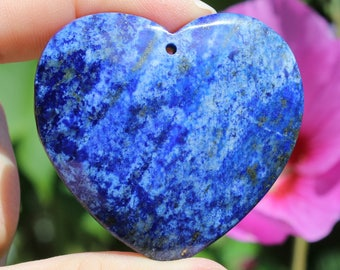 1 LARGE PENDANT BEAD LAPIS LAZULI BLUE 48 X 46 X 8 MM HEART. AW72