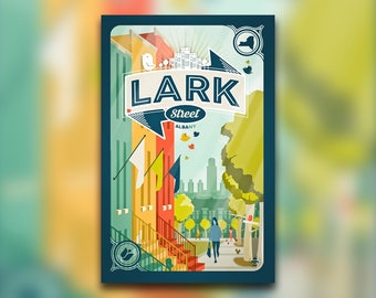 Lark Street Banner Print - Albany, NY Poster - City of Albany Empire State Plaza - New York Capital District - Wall Art Graphic Design