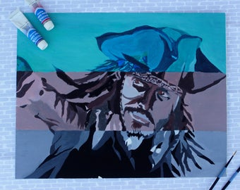 Captain Jack Sparrow, Original Watercolor Painting, Pirates of the Caribbean, Original Artwork