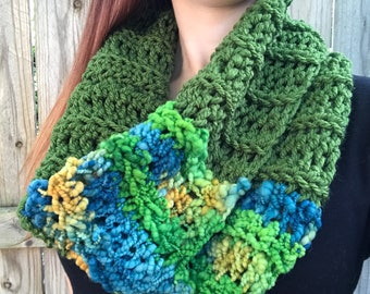 Chunky, Soft Handspun Yarn Cowl, Crochet Loop Scarf, Colorful Fall Accessories, Green / Blue / Orange