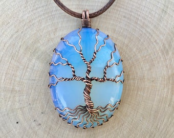Tree of Life Necklace, Opalite Necklace, Crystal Pendant, Healing Crystal, Wire Wrapped, Crystal Jewelry, Opalite, Spiritual Jewelry