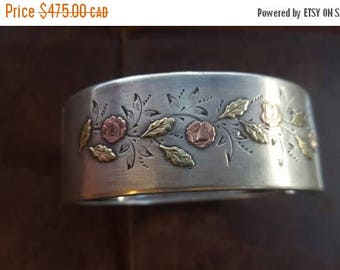 ON SALE Victorian Silver and Gold Floral Bracelet