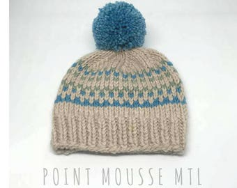 Knitted baby hat, Soft baby beanie, fairisle baby hat, baby boy hat, baby girl hat | Hand Knit in Canada // 100% Merino wool