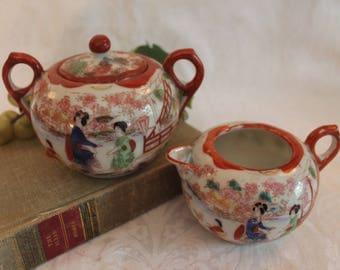 Vintage Japanese Porcelain Geisha Girl Creamer and Sugar Bowl Set in Excellent Condition