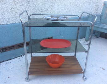 1970s chrome , wood and glass trolley