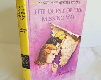 Vintage Nancy Drew Book, The Quest of the Missing Map, 1969, Carolyn Keene, Grosset and Dunlap, Young Reader Mystery Series, Hardback