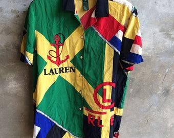 Vintage Polo Ralph Lauren RL 67 Full over print silk shirt size S