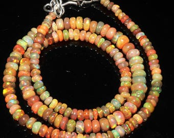 "50 Ctw 1Necklace 3to6 mm 16"" Beads Natural Genuine Ethiopian Welo Fire Opal ET145"