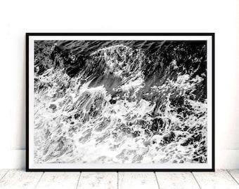 Ocean Art Print, Waves, Black and White, Water, Coastal Wall Decor, Beach Art, Large Printable Poster, Digital Download, Modern Minimalist